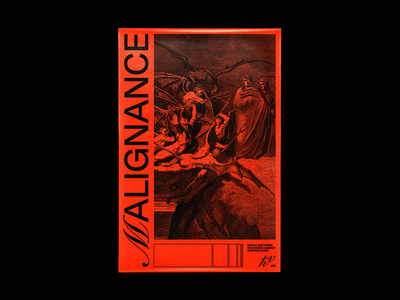 𝓜ALIGNANCE devils romantic graphic design gustave dore dante poster brutalism line red minimal type illustration typography graphic design