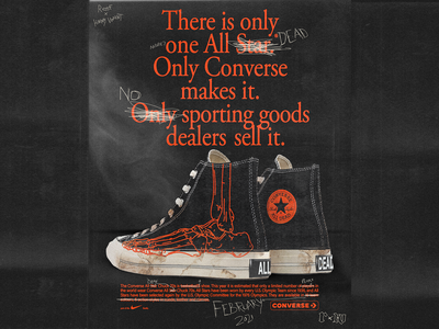 'All Dead' Chuck 70s. Coming February 2021. tetxure photocopy scan converse nike sneakers vintage paper poster brutalism red minimal type typography graphic design