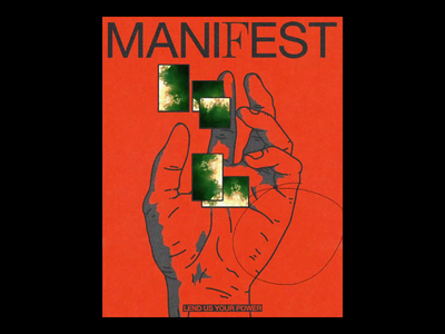 MANI𝐅EST animated ae motion manifest spell magic hands poster brutalism line red minimal illustration type typography graphic design