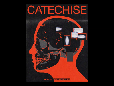 CATECℍISE noise distortion ae death portrait motion skull poster brutalism line red minimal illustration type typography graphic design