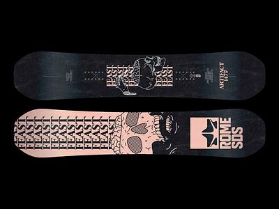 💀🧠🥢   'Feast' Snowboard death snowboard snow feast skull brutalism illustration type typography graphic design