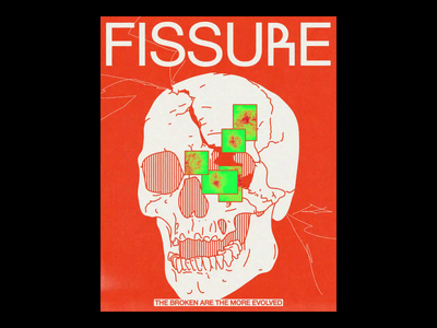 FISSUཞE fissure broken ae motion skull poster brutalism line red minimal illustration type typography graphic design