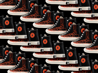 They are coming... bred 70s chuck taylor nike sneakers converse skeleton brutalism red illustration graphic design