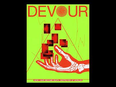 DEV๏UR motion ae devour skeleton hands poster brutalism line red minimal illustration type typography graphic design