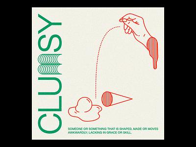 CLU𝕞SY NFT graphic design typography type illustration minimal red line brutalism poster hand clumsy nft nftart outline
