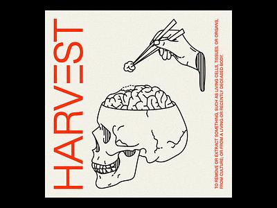 HARVΞST NFT graphic design typography type illustration minimal red line brutalism poster hand skull harvest nft nft art outline