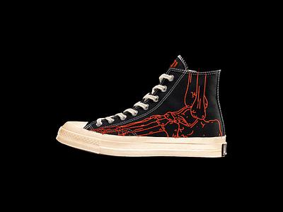 """ALL-DEAD"" CHUCK 70s custom death dead chuck taylor shoes footwear sneaker converse brutalism red illustration design"