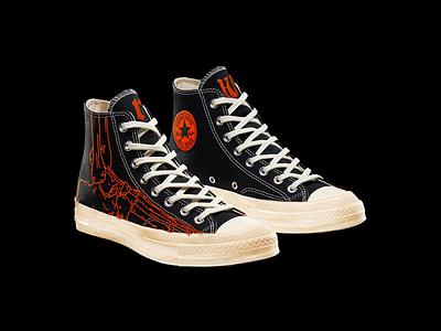 """ALL-DEAD"" CHUCK 70s custom all dead death dead shoes footwear converse sneaker brutalism red illustration"