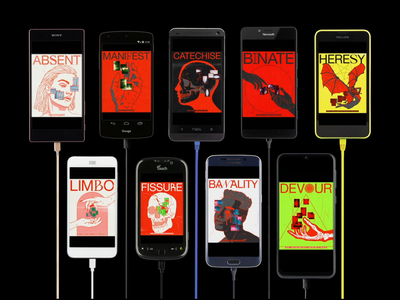 All screens of the 'inside my head are thoughts' collection phone motion ae device screen retro mockup mobile brutalism line red minimal illustration type graphic typography design