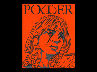 (YOUR) POῳER portrait tears blood typeface cover art power your power billie eilish poster brutalism line red minimal illustration type graphic typography design