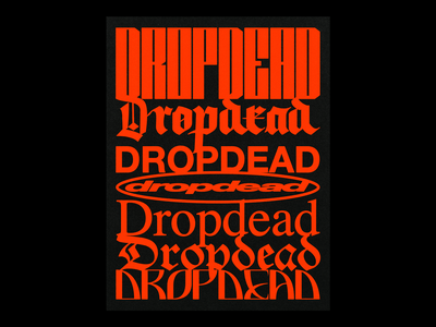 'Stacked' Typography for Drop Dead Clothing print clothing apparel drop dead death poster brutalism red minimal type graphic typography design