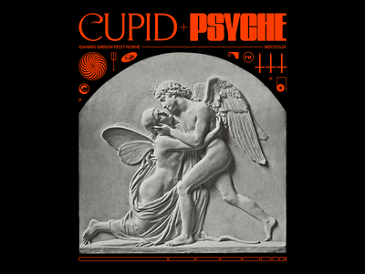 𝐂𝐔𝐏𝐈𝐃+🅿🆂🆈🅲🅷🅴 psyche cupid classical marble artwork statue poster brutalism line red minimal type graphic typography design