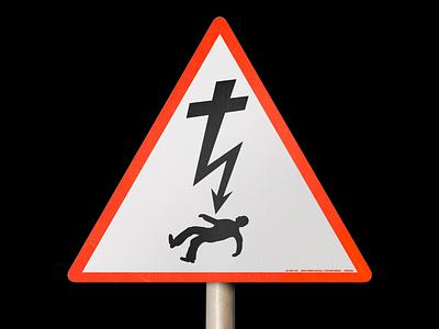 DANGER! ✝️⚠️ crucifix cross warning sign electricity danger brutalism line red minimal illustration type graphic typography design
