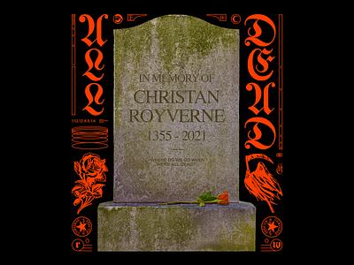 𝔄𝔏𝔏 𝔇𝔈𝔄𝔇 reaper death bred dead grave stone sttaue red minimal illustration type graphic typography design