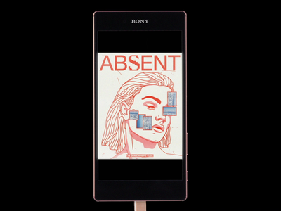 AB S͓̽ENT x BONY lofi vintage mockup ui ux phone absent portrait red minimal illustration type graphic typography design
