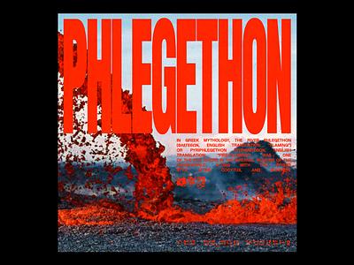 𝗣𝗛𝗟𝗘𝗚𝗘𝗧𝗛𝗢𝗡 volcano lava font brutalism red minimal illustration type graphic typography design