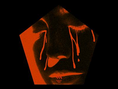 ƼƼƼ (SULLEN-5) bred grain portrait cry tears shape pentagon brutlaism red minimal type graphic typography design