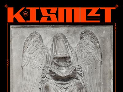 ĶMȆ kismet fate reaper death statue brutalism red minimal type graphic typography design