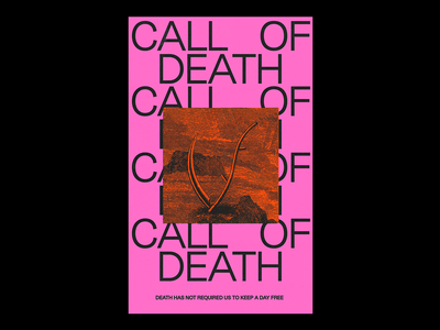 CALL OF DEATH vintage scythe reaper dath pink red illustration minimal type graphic typography design