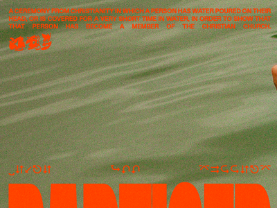 BAPTISED christian baptised drown hands lake water pool red minimal type graphic typography design