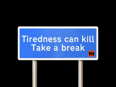 Tiredness can kill 🟦 motivational qotd quote cars traffic signs uk road minimal type typography graphic design