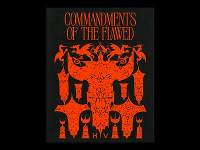 𝐂𝐎𝐌𝐌𝐀𝐍𝐃𝐌𝐄𝐍𝐓𝐒 𝐎𝐅 𝐓𝐇𝐄 𝐅𝐋𝐀𝐖𝐄𝐃 christianity commandments symbols church red illustration minimal type typography graphic design