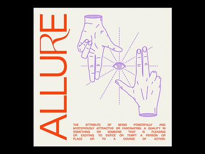 ALLUཞE eye allure magic occult hands red illustration minimal type typography graphic design