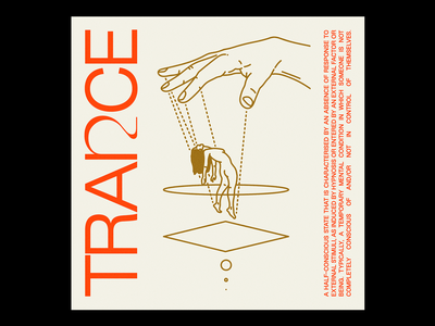 TRAꪀCE mind control hypnosis control trance hand gold red illustration minimal type typography graphic design