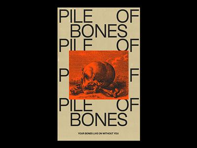 PILE OF BONES stacked layout skull bones red illustration minimal type typography graphic design