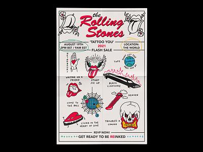 The RollingStones 'Tattoo You' 40th Anniversary Flash Sheet tattoo flash art mick jagger the rolling stones music rolling stones tattoo you flash tattoo illustration minimal type typography graphic design