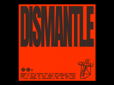 DISMANTLE machine cog opression dismantle crucific cross animation minimal type typography graphic design