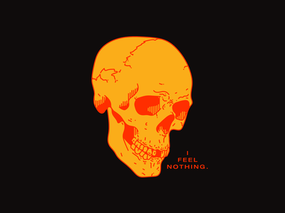💀I FEEL NOTHING. spooky season spooktober orange halloween skull red type tattoo typography graphic line illustration design minimal