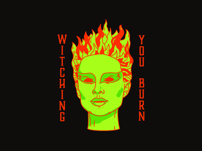 Witching You Burn witchcraft spooky spooktober halloween fire witch red type harryvector typography graphic line illustration design minimal