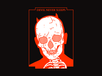 DEVIL NEVER SLEEPS daredevil devil halloween spooktober skull red type harryvector tattoo typography graphic line illustration design minimal