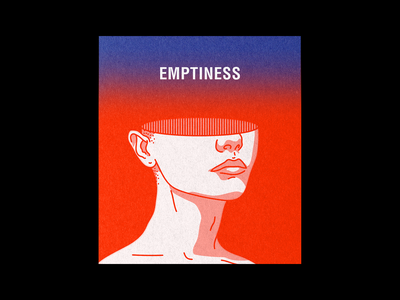 EMPTINESS pink blue fade print red type line minimal typography graphic illustration design