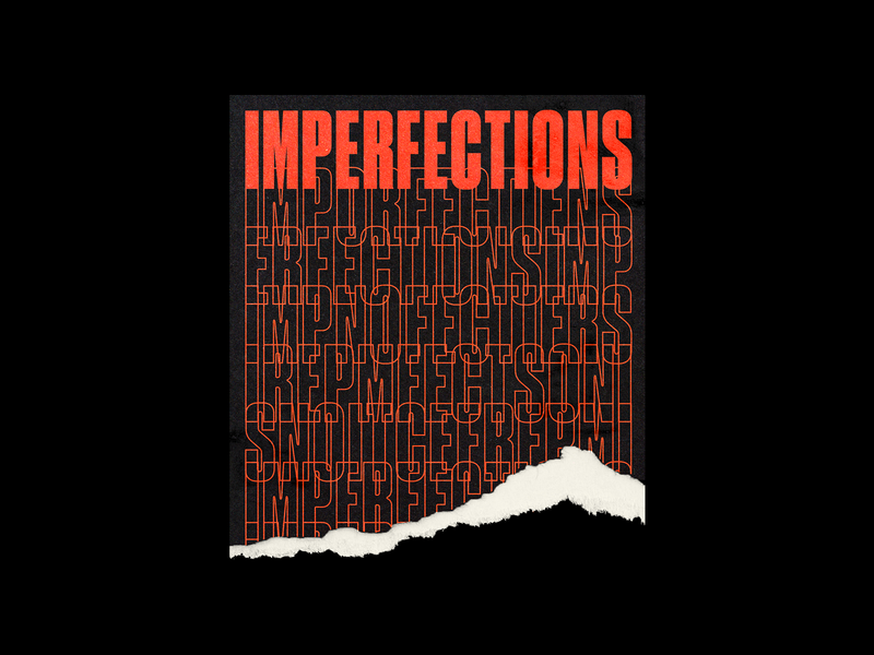 021. IMPERFECTIONS repeat brutalism tear mokcup poster red type line typography graphic design