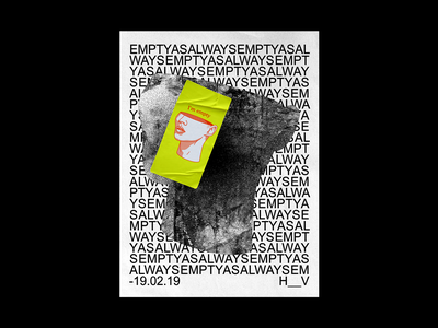 EMPTYASALWAYS poster arial repeat brutalism sticker red type line typography graphic illustration design