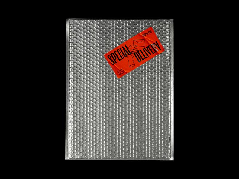 041. Special Delivery brutalism metallic royal mail delivery post sticker mock up envelope red illustration typography graphic design