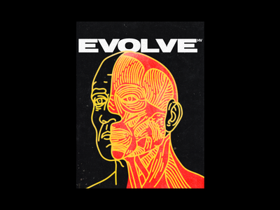 ᴇᴠᴏʟᴠᴇ portrait brutalism poster evolve anatomy type line illustration typography graphic design