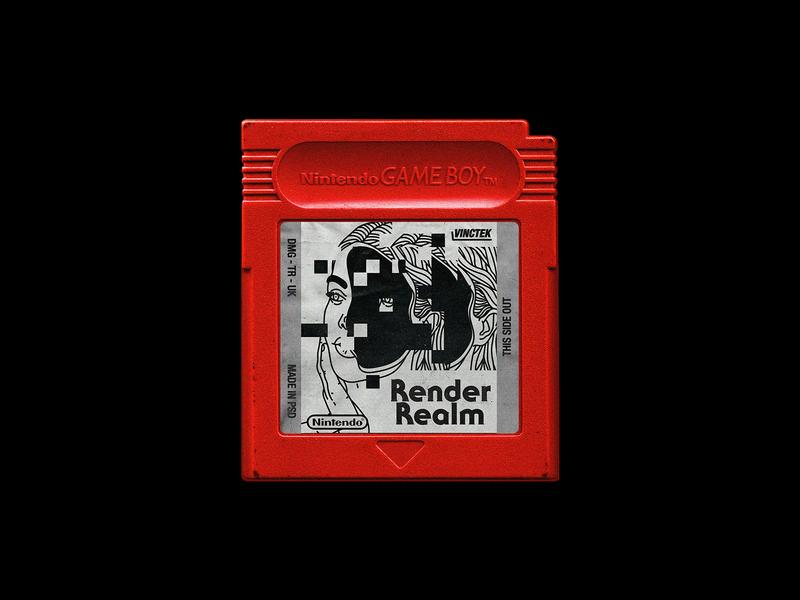 050. Render Realm nintendo retro mock up cartridge game boy game type line illustration typography graphic design