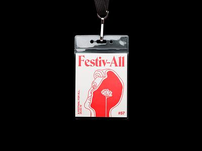 Festiv-All lanyard festival brutalism red line illustration typography graphic design
