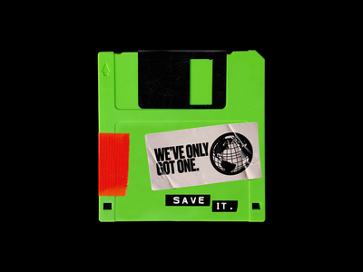 Earth Day 2🌍19 pollution memory floppy disk earth day recycle earth brutalism red typography graphic design