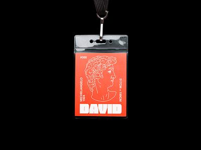 David statue david mock up lanyard pass brutalism red type minimal line illustration typography graphic design