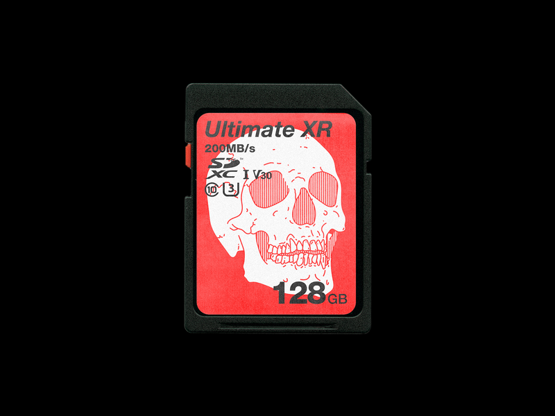 109. 𝙐𝙡𝙩𝙞𝙢𝙖𝙩𝙚 𝙓𝙍 memory mockup sd card brutalism skull red type minimal line illustration typography graphic design