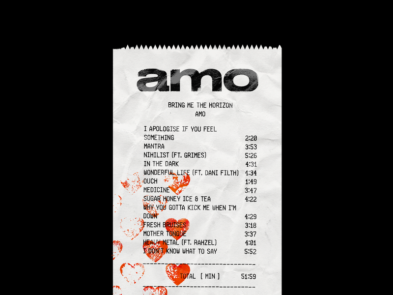 127. amo Receipt* metal rock oliver sykes bring me the horizon bmth amo album cover album band hearts red brutalism minimal type typography graphic design