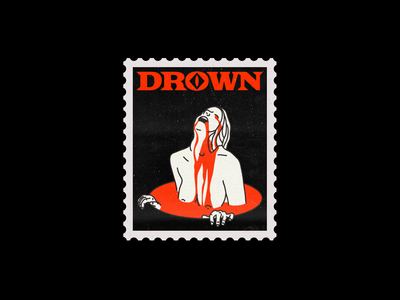 DROWN statue drown stamp line red minimal type illustration typography graphic design