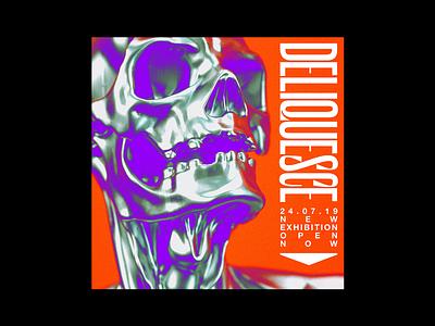 Deliquesce 3d render metal liquid purple death skull poster brutalism red minimal type illustration typography graphic design