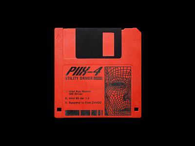 Piix 4 Utility Driver tech retro floppy disc brutalism red line minimal type illustration typography graphic design