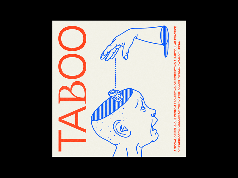 175. TAᏰOO hands taboo blue poster brutalism red line minimal type illustration typography graphic design