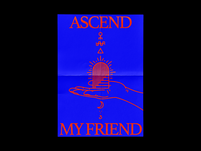 Ascend My Friend brutalism blue hands red occult poster line minimal type illustration typography graphic design